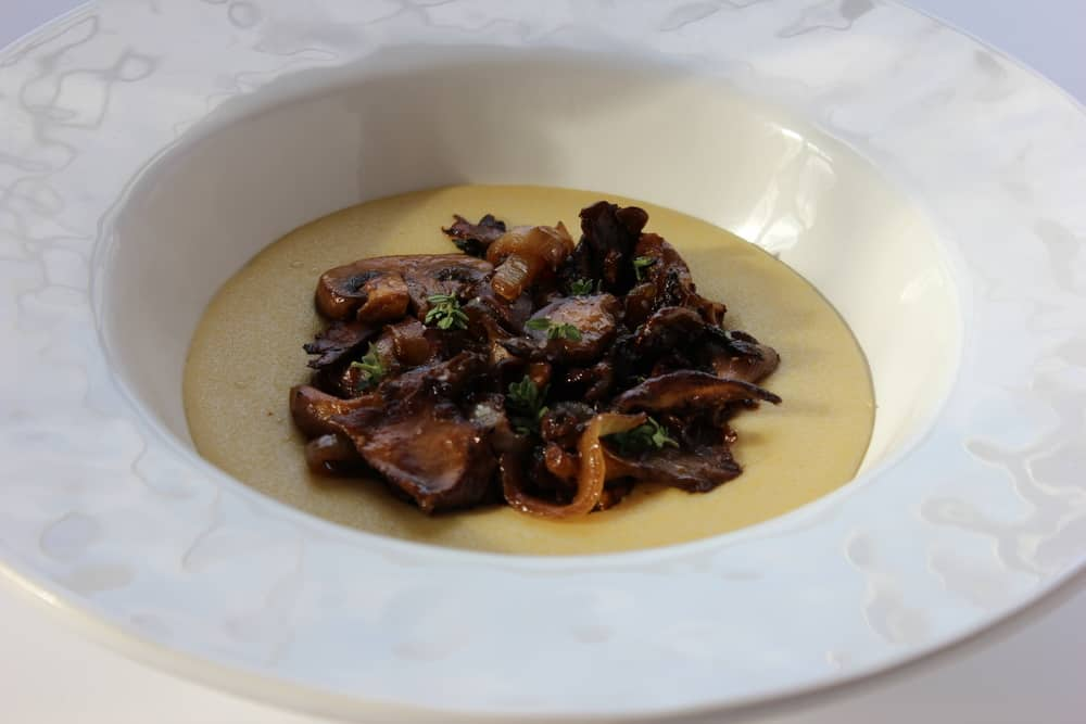 polenta with sauteed mushrooms and caramelized onions