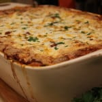 rustic lasagna with fresh spinach pasta