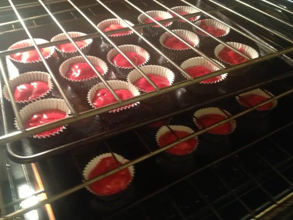 red velvet cupcakes baking