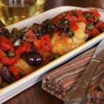 tilapia with roasted red pepper, olives and capers in a white wine reduction