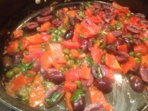 cook the veggies for sauteed tilapia with roasted red repper, kalamata olives and capers