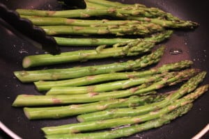 Asparagus in the skillet for seared scallops