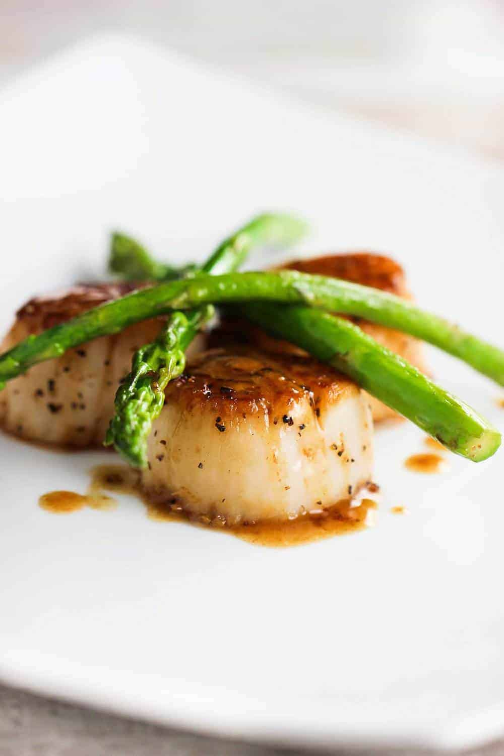 Seared Scallops with Asparagus on a white plate