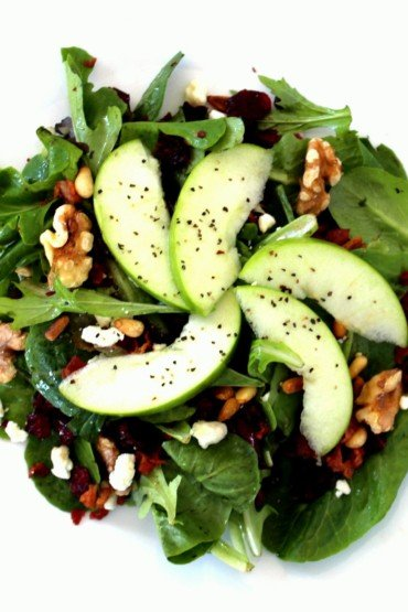 Mixed Green Salad with Gorgonzola, Walnuts, Apple, Cranberries and Pine Nuts