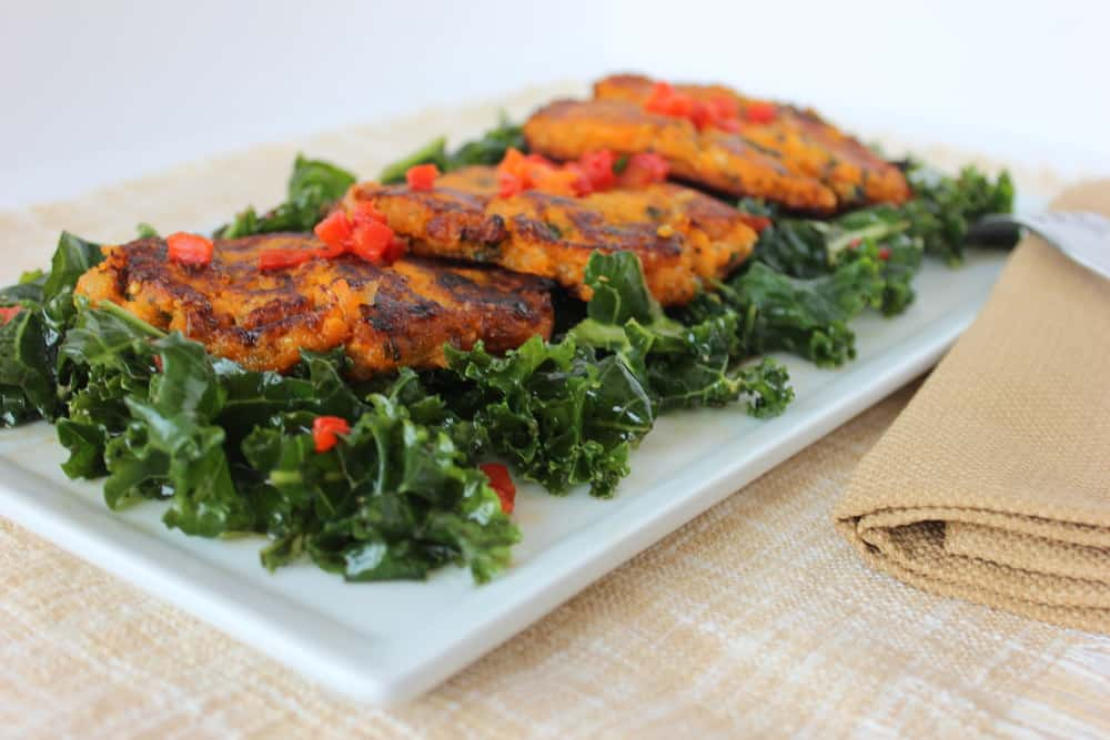 Sweet Potato & Quinoa Cakes On a Citrus Kale Salad - How To Feed A ...