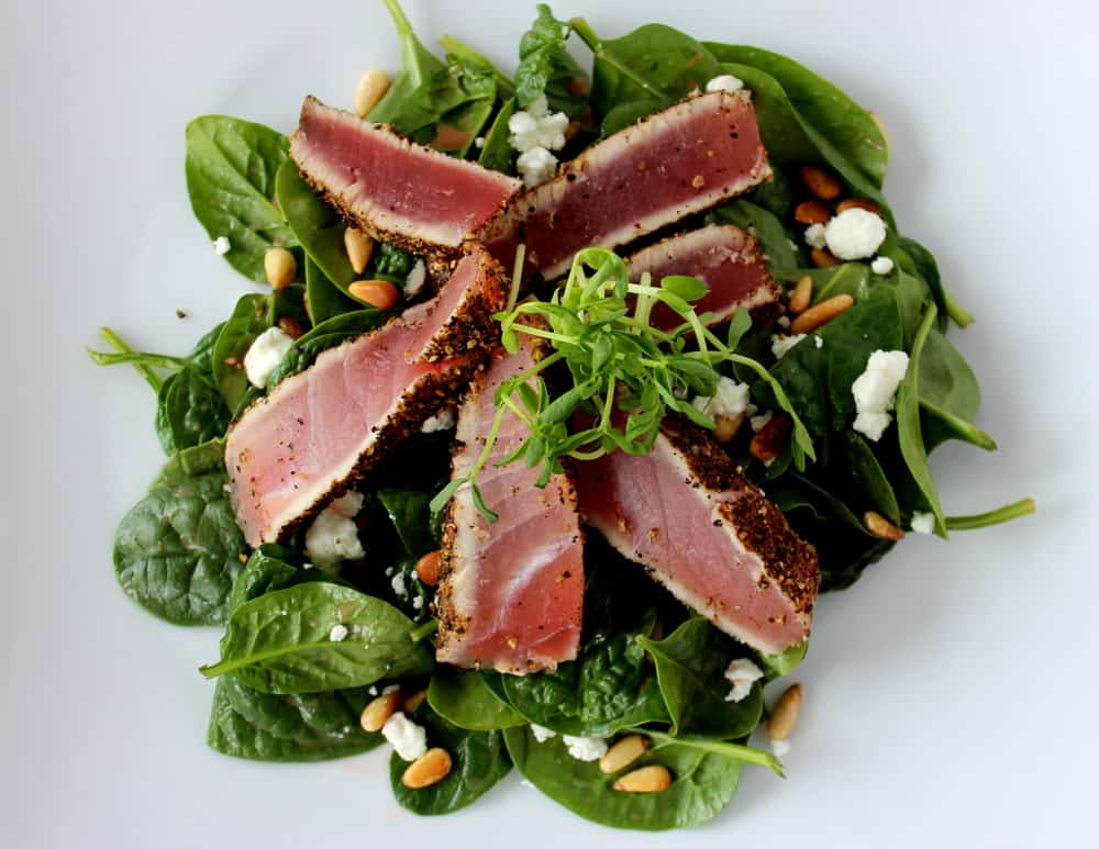 eppercorn Encrusted Tuna Salad with Strawberry Vinaigrette