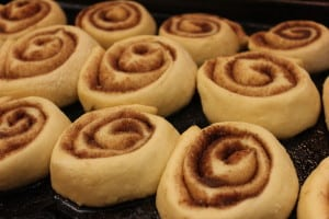 Cinnamon rolls ready for the oven