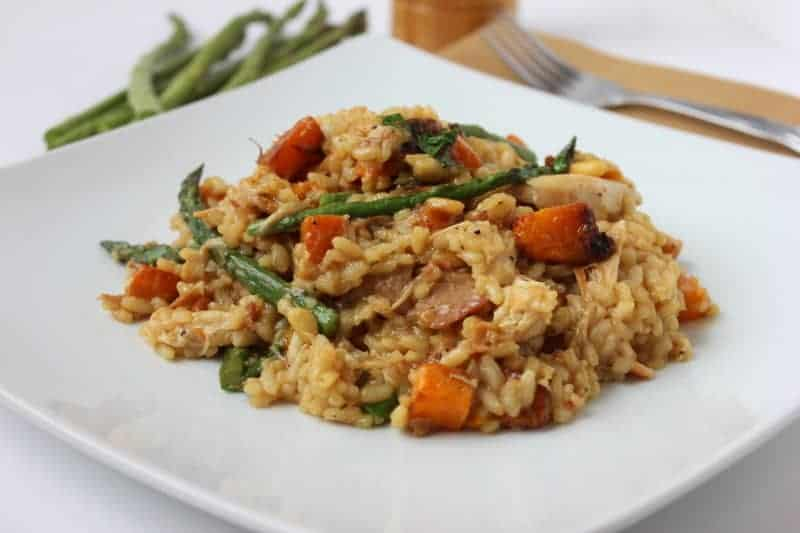 Risotto with roasted chicken, butternut squash and asparagus