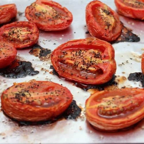 Roasted tomatoes for roasted tomato and bails soup