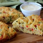 Cowboy Cornbread features fresh ground corn meal, peppers, bacon, cheese and honey