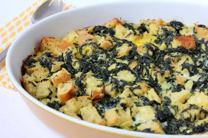 Fresh spinach and blue cheese bread pudding