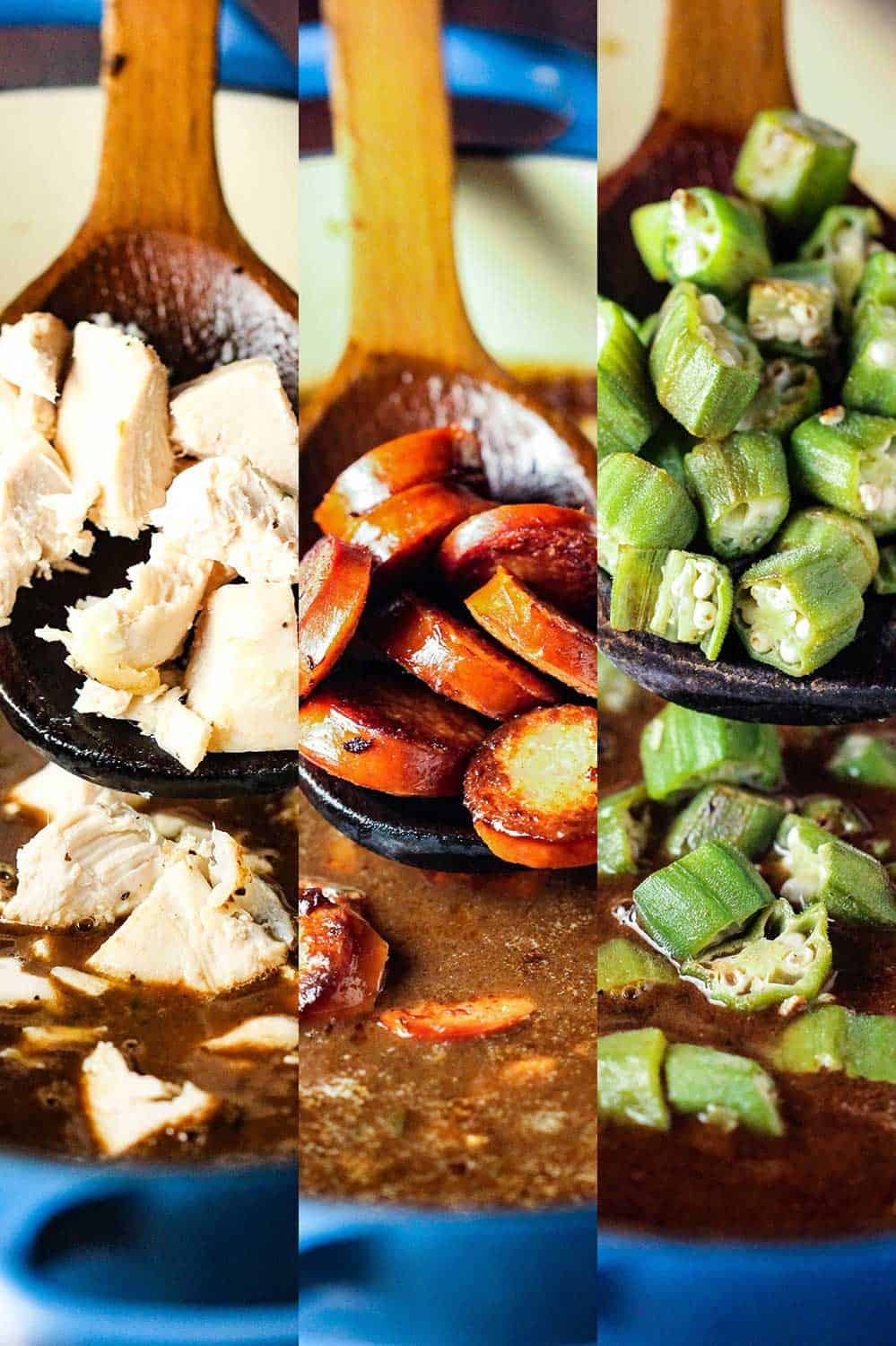 Three side-by-side images of chicken, sausage, and okra being dropped into a pot of gumbo.