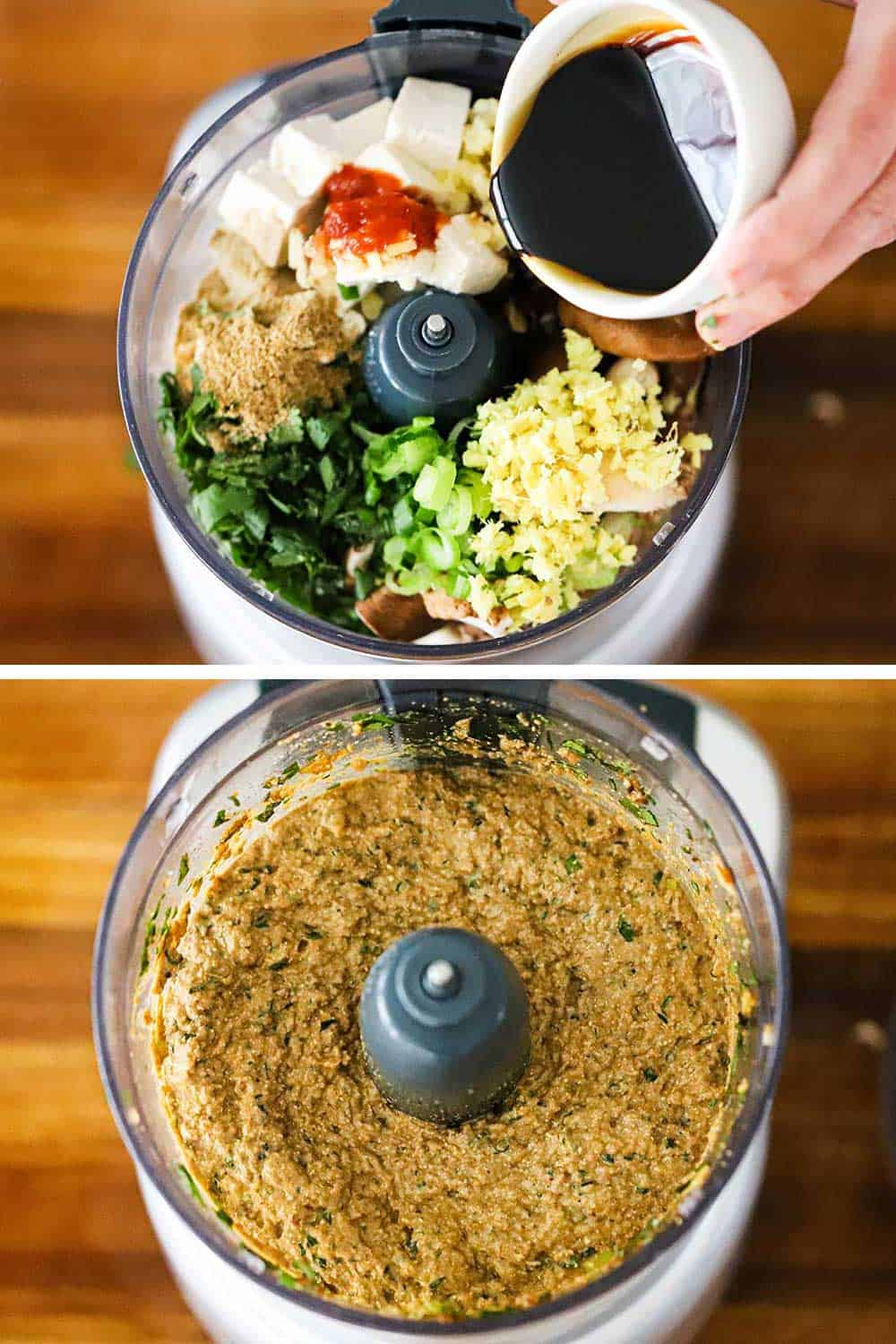 A person pouring soy sauce into a food processor filled with the ingredients for vegetarian steamed dumplings and then the food processor after the ingredients were puréed.