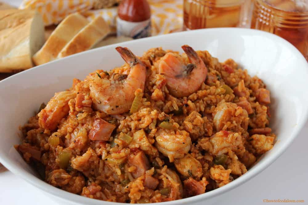 Jambalaya with shrimp, chicken and smoked ham