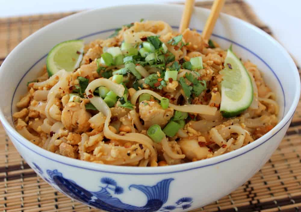 Classic Pad Thai in a white and blue bowl