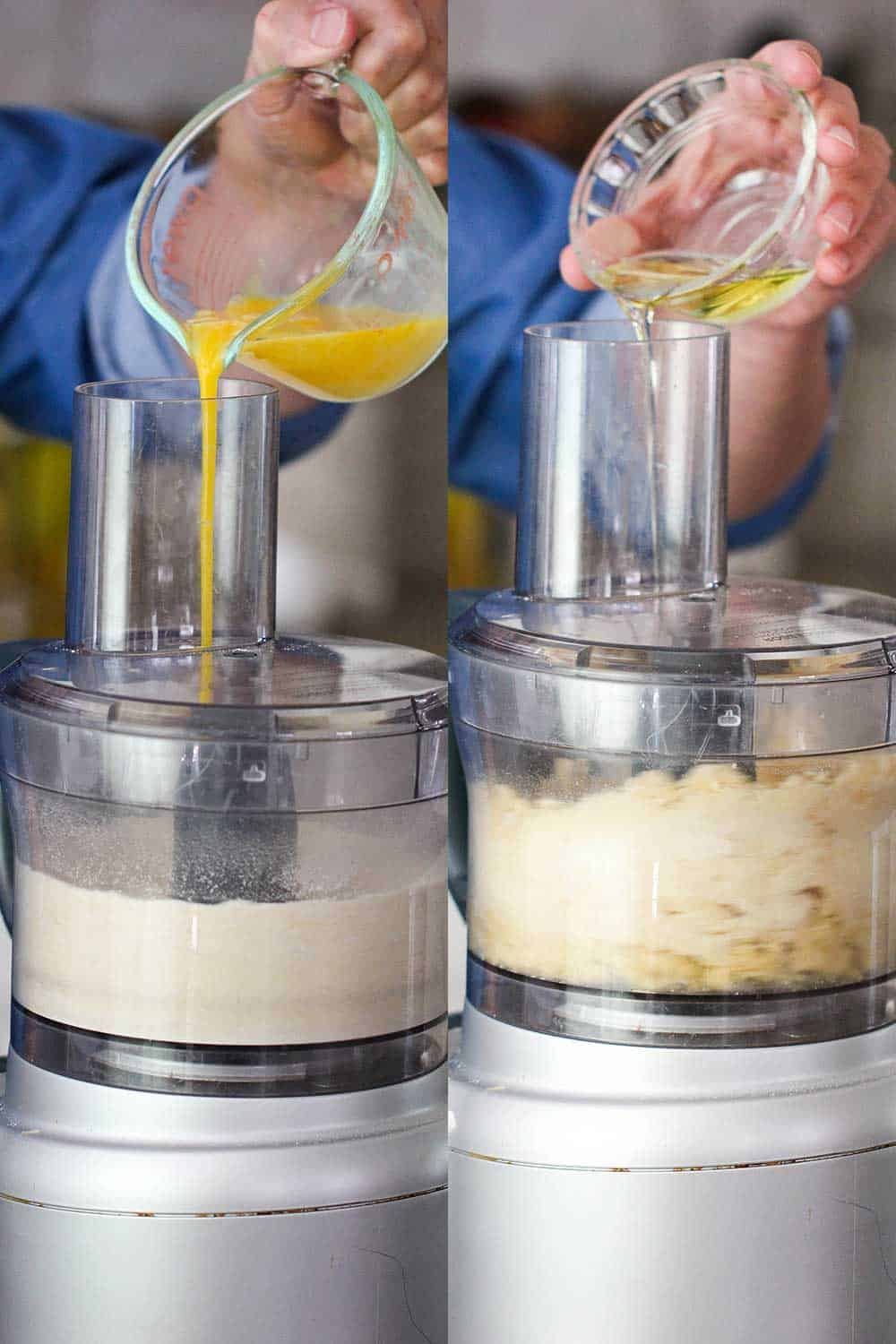 Two views of a food processor with eggs and then oil being poured into the bucket with flour.