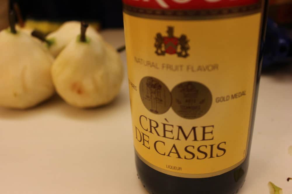 Pears with Creme de Cassis