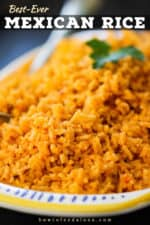 A close up view of a platter of Best-Ever Mexican Rice.