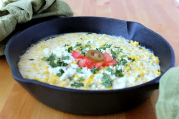 Jalapeno Sweet Creamed Corn in a cast iron skillet