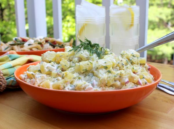 Creamy potato salad with dill and Dijon