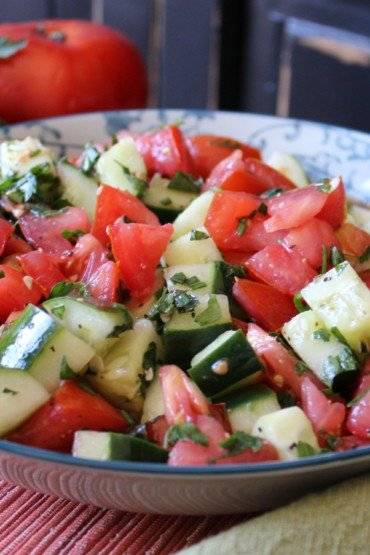 Summer Salad: Tomatoes, Cucumbers and Herbs