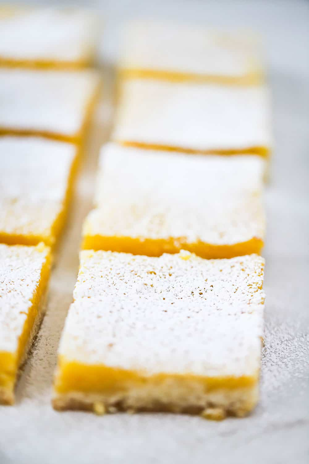 Two rows of lemon bars that have been cut into squares and dusted with powdered sugar.