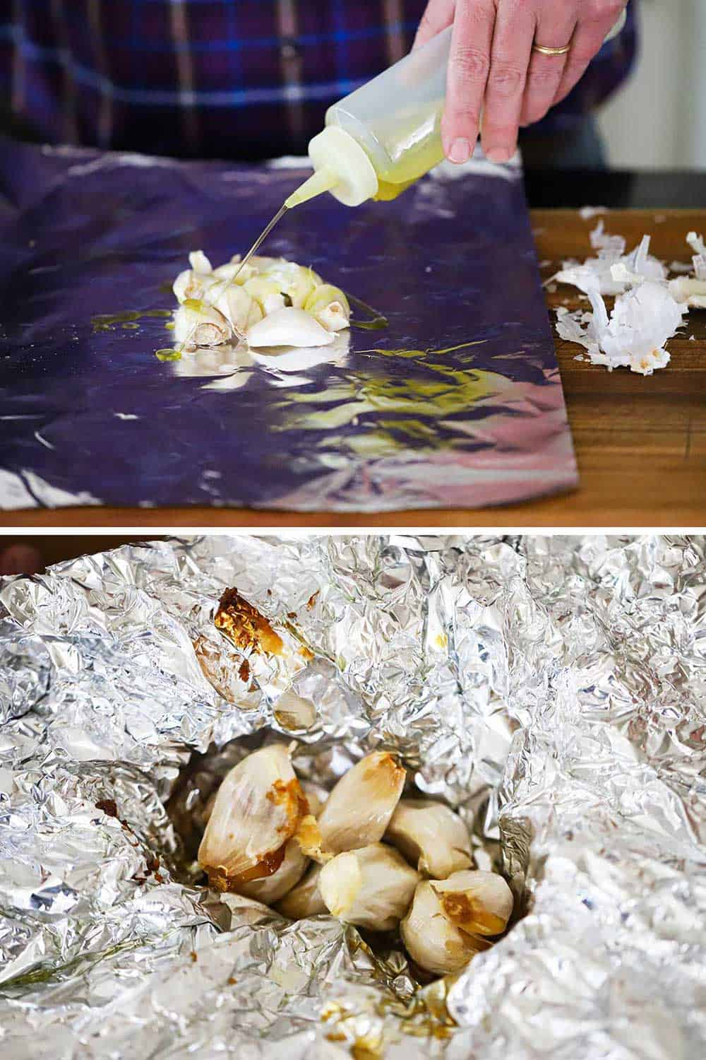 A person squirting olive oil onto garlic cloves on a piece of foil and then the same garlic after being roasted still on the foil.