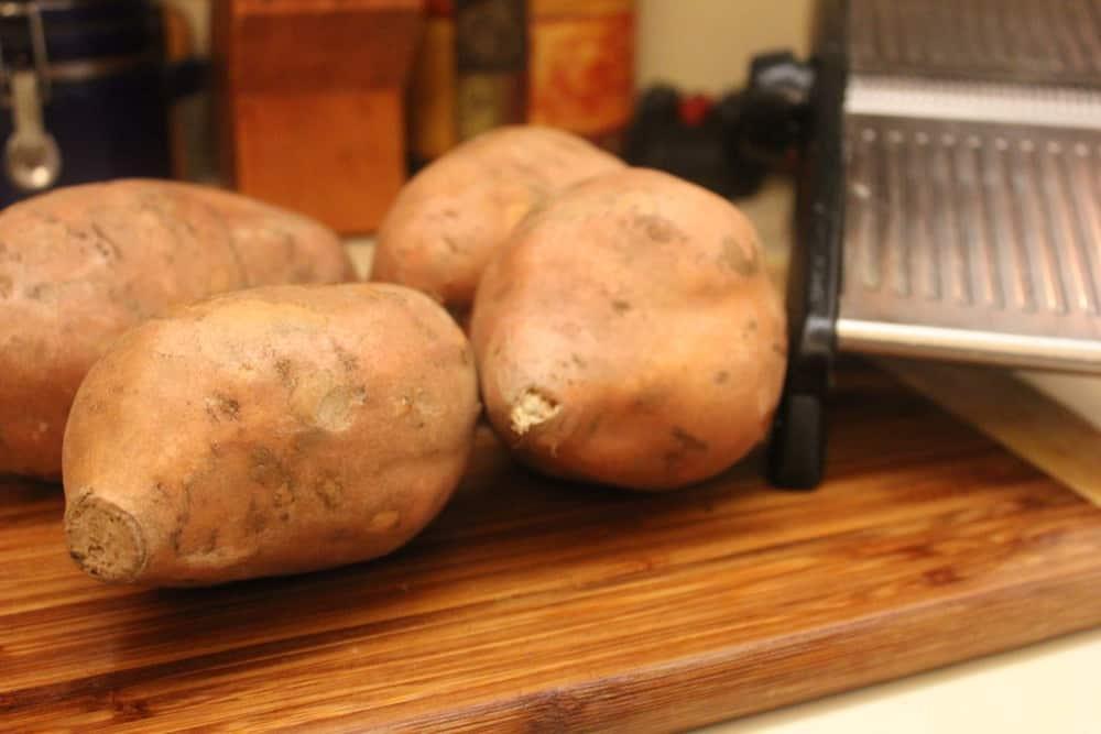 Sweet potatoes and a mandolin make the perfect Sweet Potato Waffle Fries