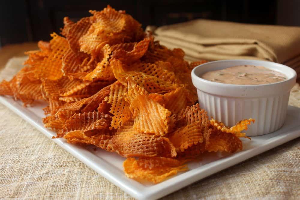 Sweet Potato Waffle Fries Cross hatch sweet potato chips - how to feed ...