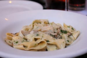 Homemade tagliatelle with fresh porcini, garlic, parsley, butter and parmigiano