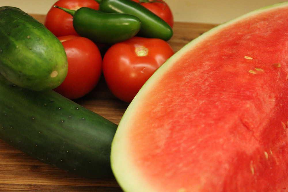 Ingredients to make a wonderful watermelon gazpacho