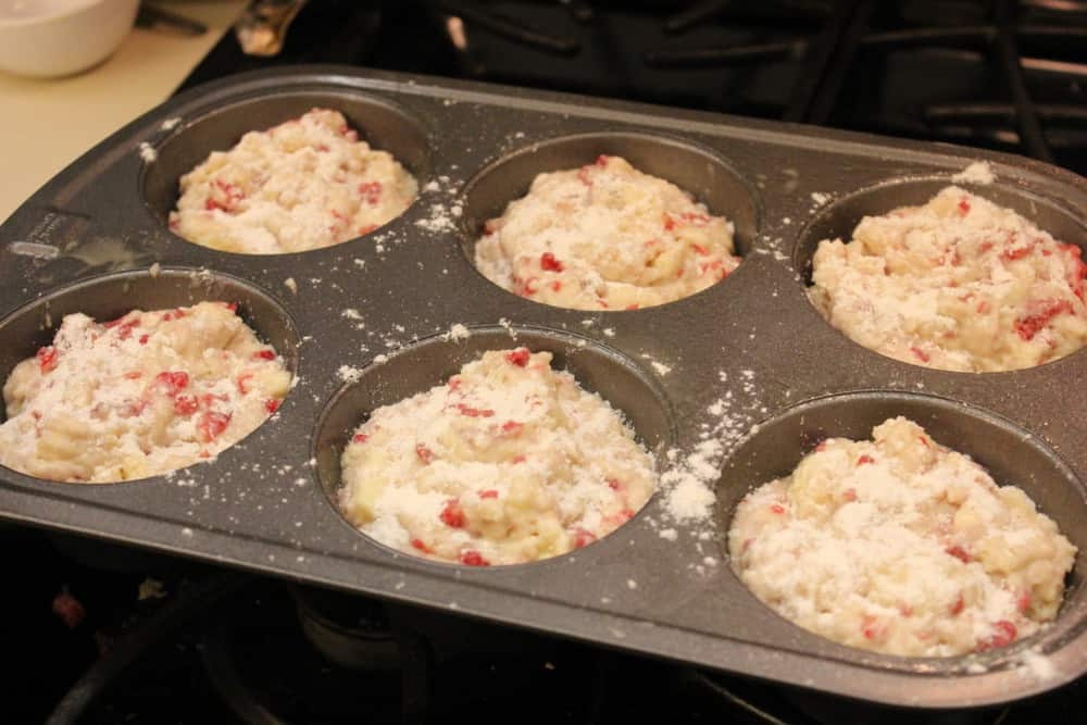 Muffins in a pan ready to go in the oven