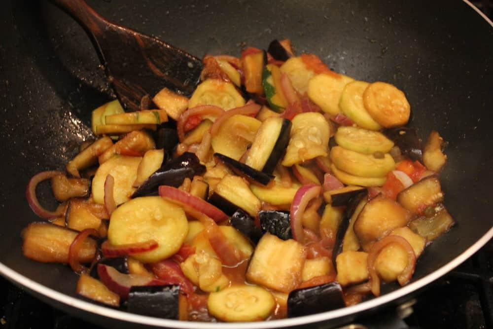 Veggies for soba soaking up the marinade flavors