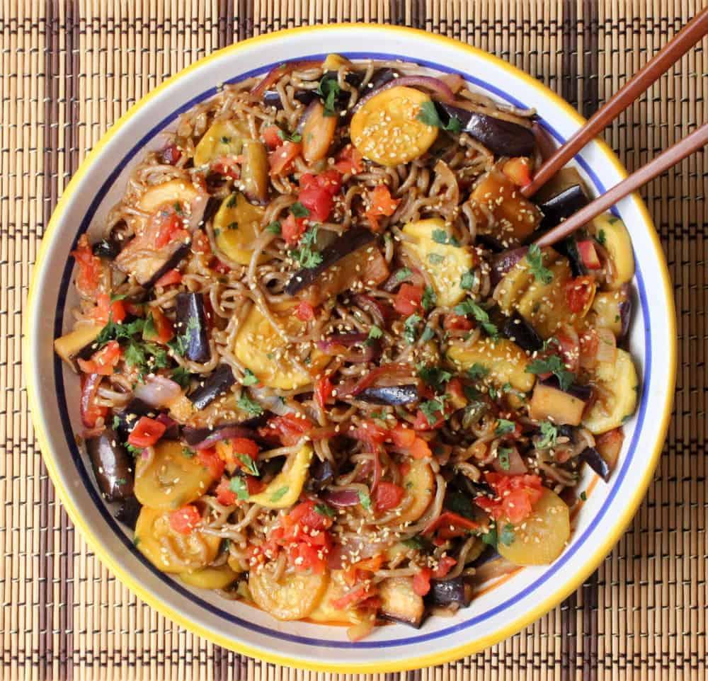 Marinated summer vegetables over soba noodles