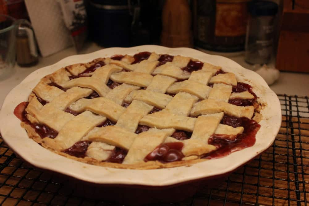 Cherry pie out of the oven