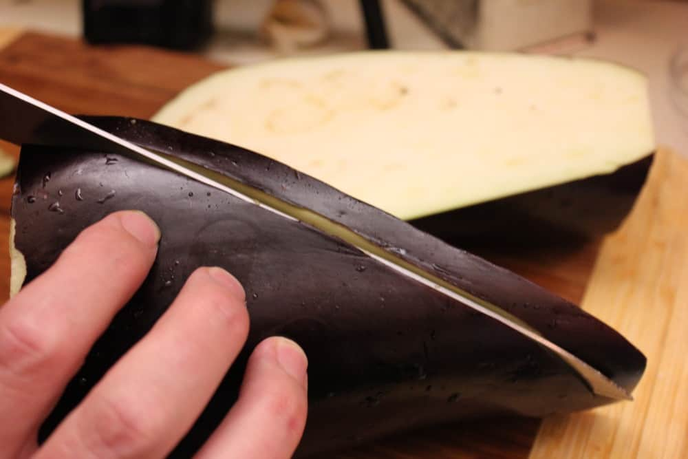 Cutting eggpant crosswise