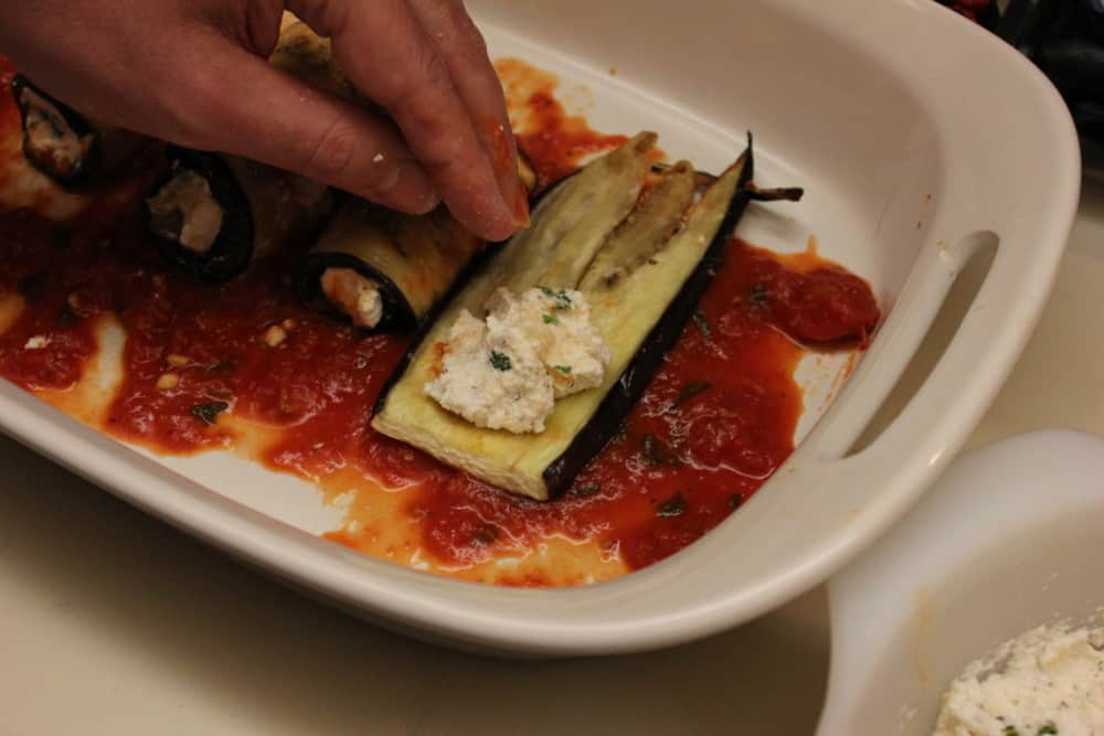 Eggplant roll with cheese