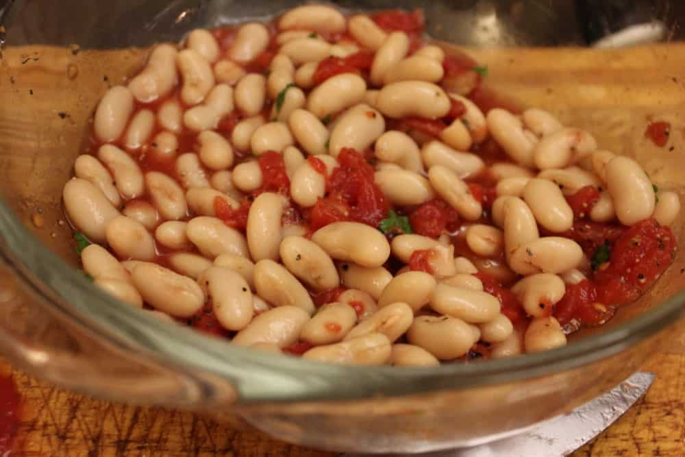 Great Northern beans, tomatoes and parsley - a great addition to the lamb chops