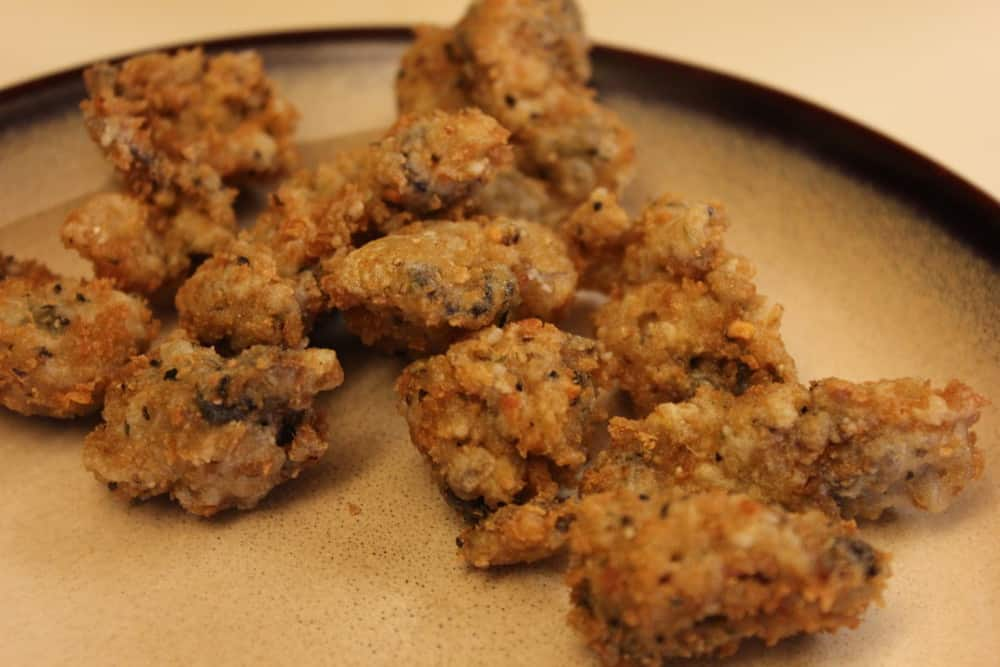 Lightly fried oysters