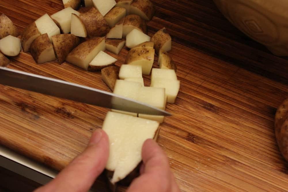 Potatoes cut for Rancher Potaotes