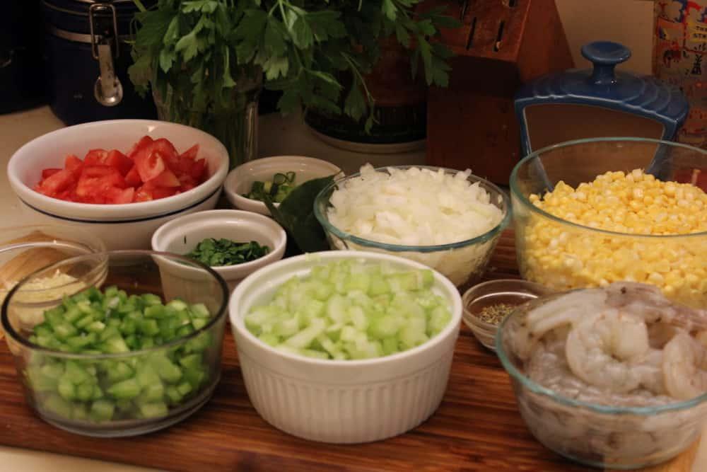 All the wonderful fresh ingredients that make this stew sing!