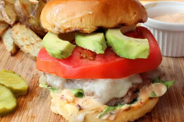 Avocado chipotle-mayo burger