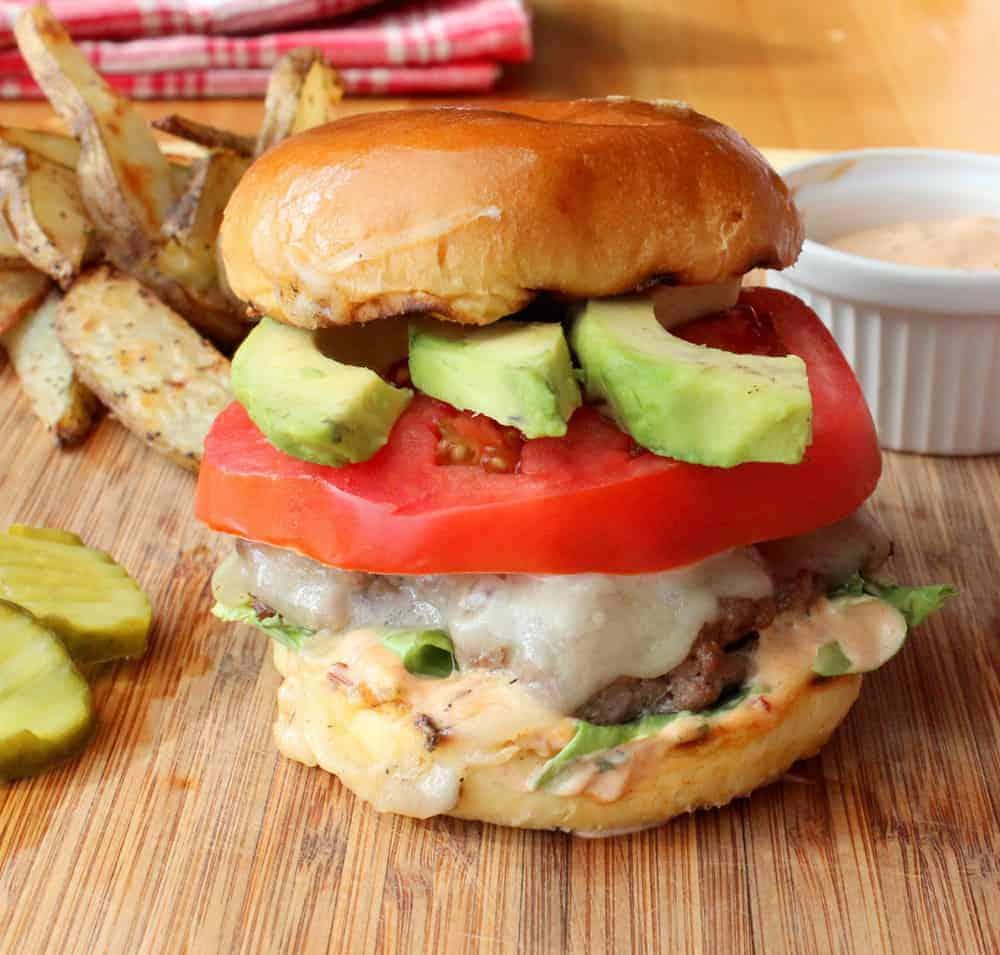 Avocado chipotle-mayo burger