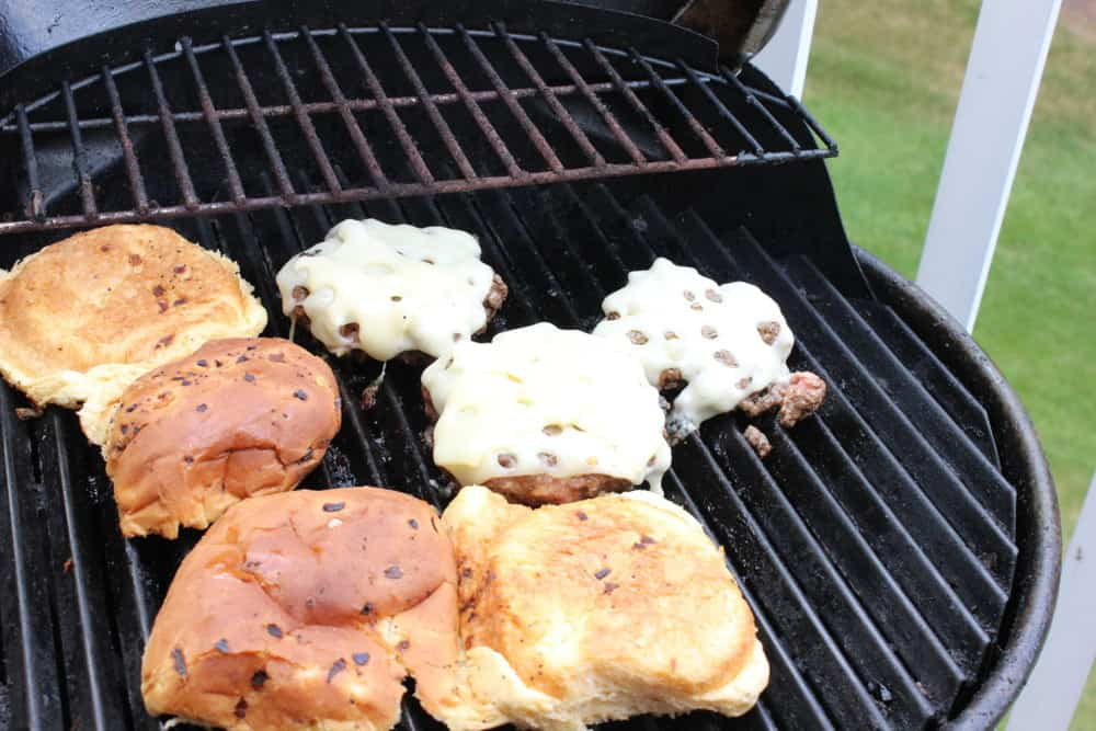 mushroom burger on the grill