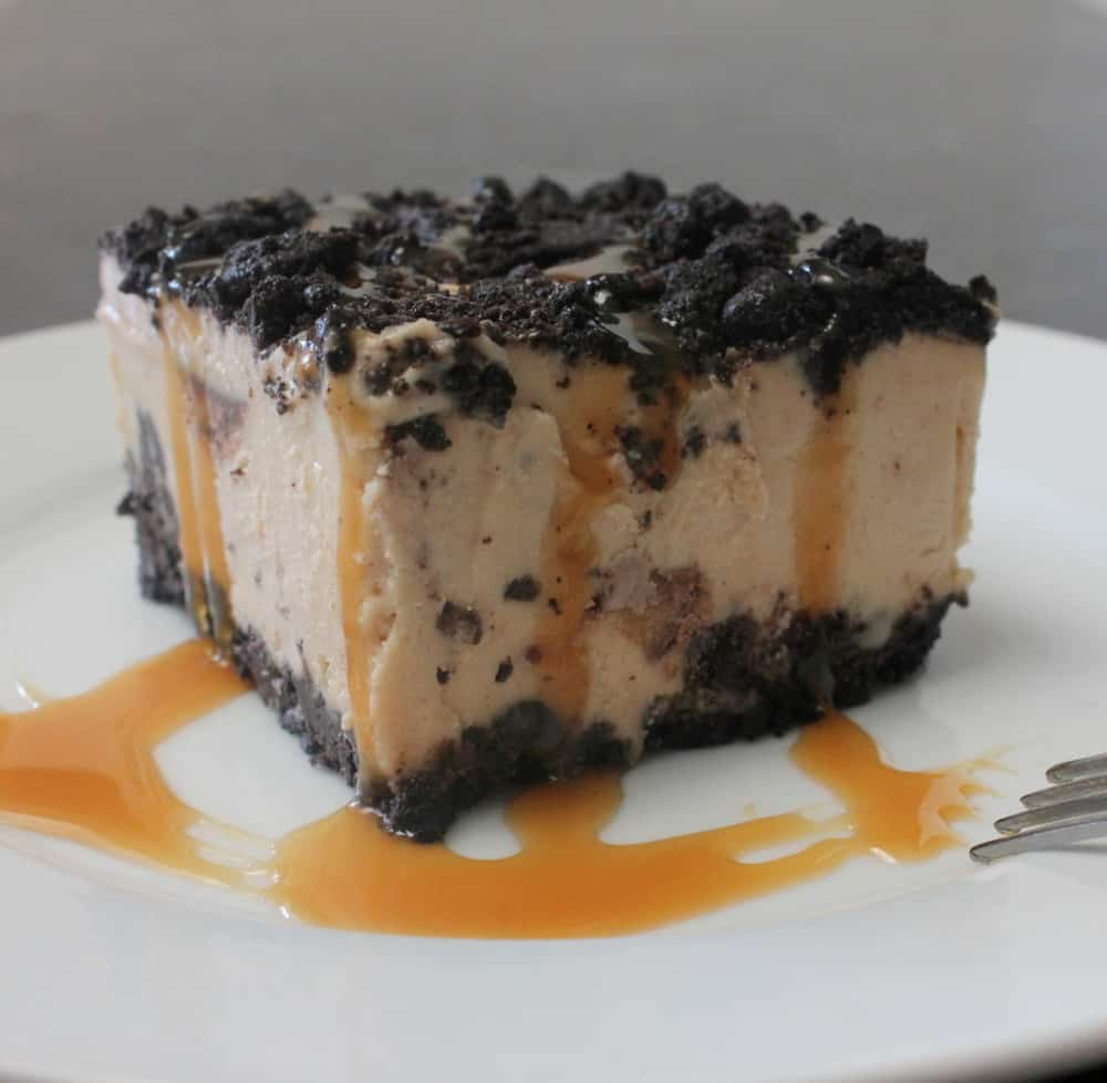 Peanut butter cup ice cream pie with caramel sauce