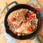 Skillet-roasted chicken with tomatoes, white beans and wine