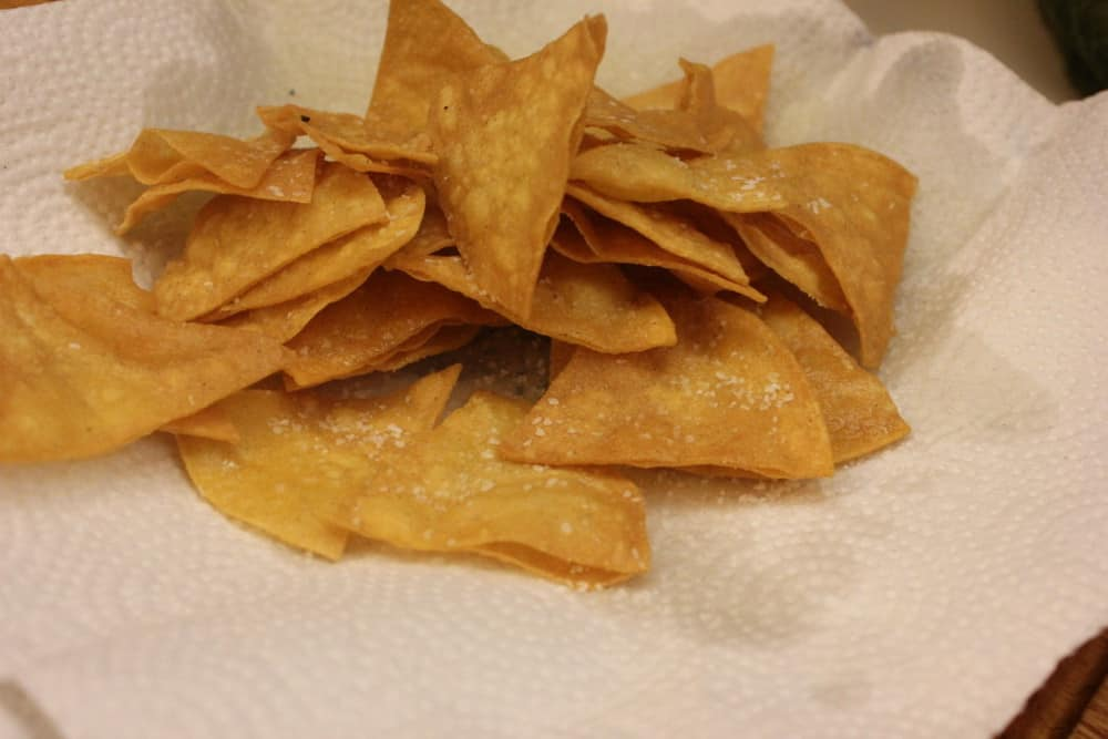 Quick fry yellow corn tortillas then lightly salt...amazing!