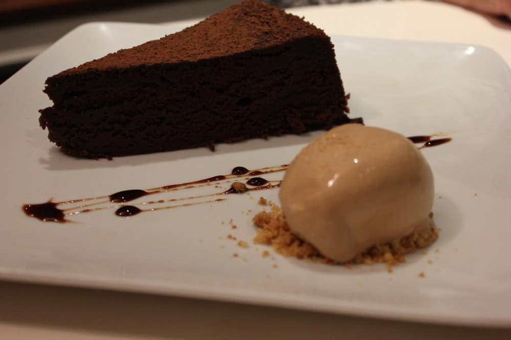 """""""Melt in your mouth"""" Venezuela chocolate cake with caramber (a French caramel/toffee) ice cream."""