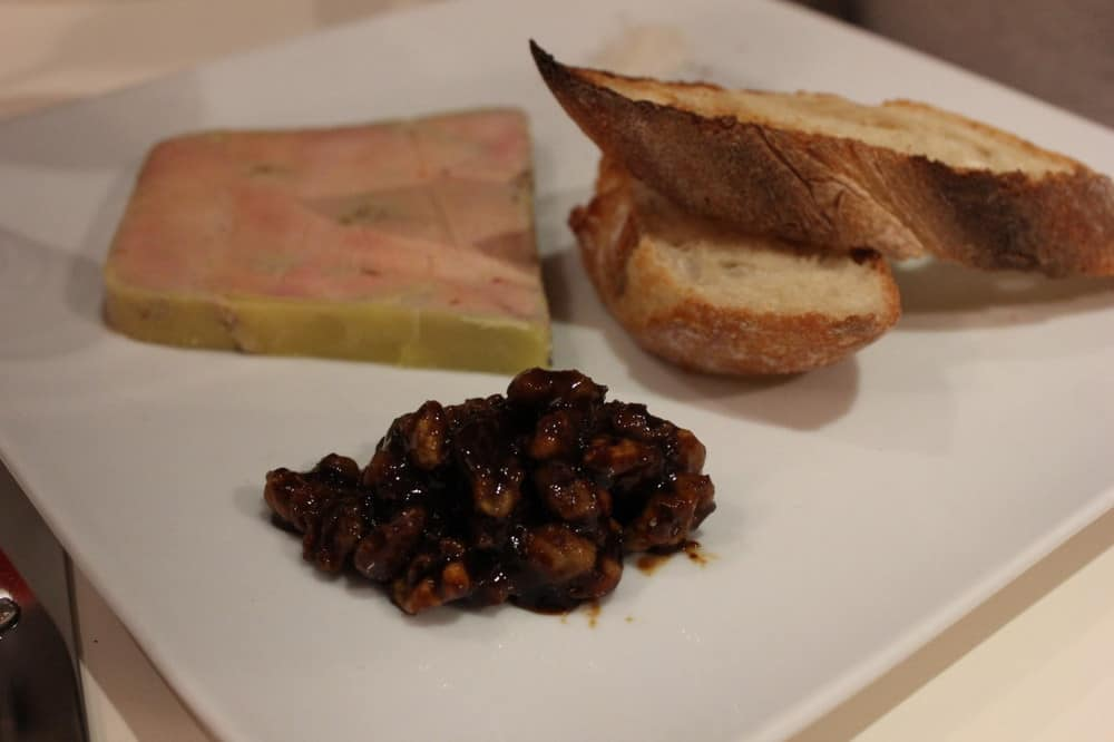 Terrine of duck foi gras with Pineau des Charentes (fortified wine) and walnut marmalade.