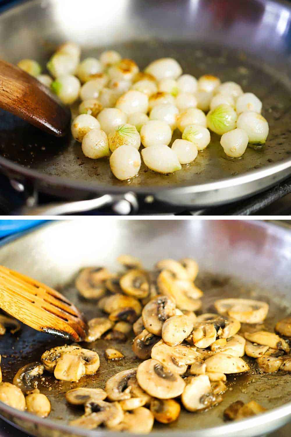 2 stacked images, the top a silver saucepan filled with pearl onions being browned in butter and the bottom the same saucepan with sautéed mushrooms in it.